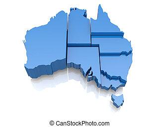 mapa, australia, tridimensional