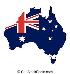 mapa, australijska bandera, tło