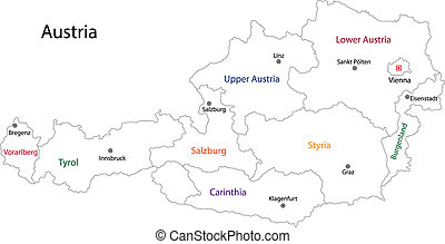 mapa, austria, contorno