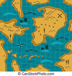 mapa, aventura, seamless, patrón