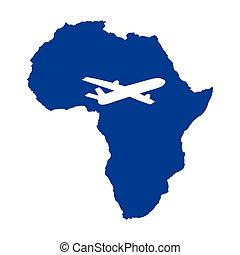 mapa, avião, áfrica