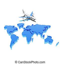 mapa, avião, geográfico, coloridos, mundo
