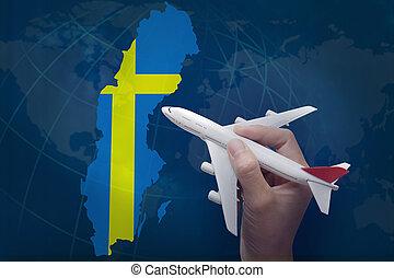 mapa, avião, sweden., segurando mão