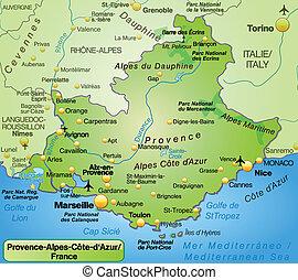 mapa, azur, d, provence-alpes-cote