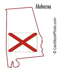 mapa, bandeira alabama, estado