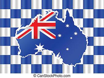 mapa, bandeira, austrália, desenho, idéia