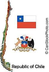 mapa, bandeira, chile, agasalho