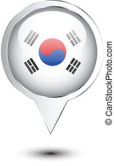 mapa, bandeira, coréia, norte, localização
