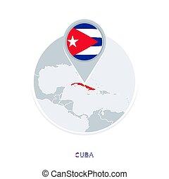 mapa, bandeira cuba, destacado, vetorial, ícone