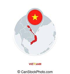 mapa, bandeira, destacado, vetorial, vietnã, ícone