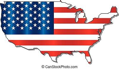 mapa, bandeira, estado unido, américa