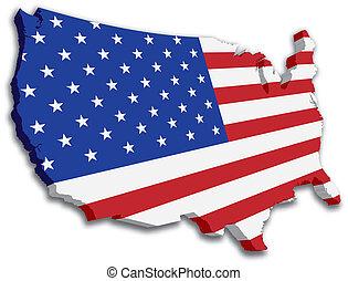 mapa, bandeira estatal, eua, 3d