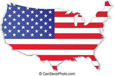 mapa, bandeira, eua