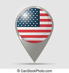 mapa, bandeira eua, desenho, localização, ponteiro, lustroso