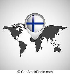 mapa, bandeira, finland, ponteiro, mundo