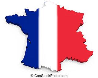 mapa, bandeira, frança francesa, república, 3d