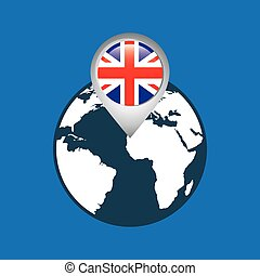 mapa, bandeira, inglaterra, ponteiro, mundo