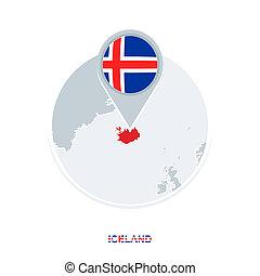 mapa, bandeira islândia, destacado, vetorial, ícone