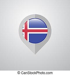 mapa, bandeira islândia, vetorial, desenho, navegação, ponteiro