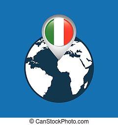 mapa, bandeira, itália, ponteiro, mundo