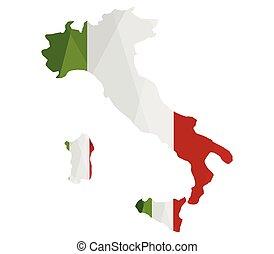 mapa, bandeira, itália