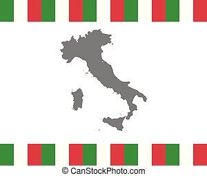 mapa, bandeira, italiano