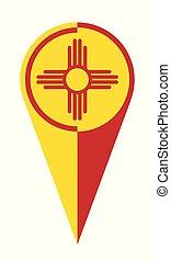 mapa, bandeira méxico, localização, novo, ponteiro