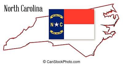 mapa, bandeira, norte, estado, carolina