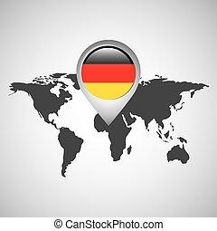 mapa, bandeira, ponteiro, alemanha, mundo