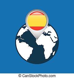 mapa, bandeira, ponteiro, espanha, mundo