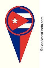 mapa, bandeira, ponteiro, localização, cuba