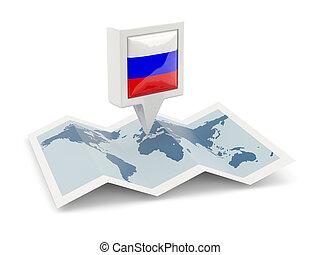 mapa, bandeira, quadrado, rússia, alfinete