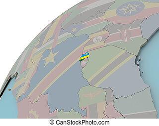 mapa, bandeira, ruanda