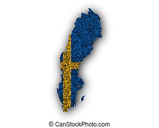 mapa, bandeira, suécia