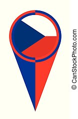 mapa, bandeira tcheca, república, localização, ponteiro