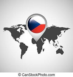 mapa, bandeira tcheca, república, mundo, ponteiro