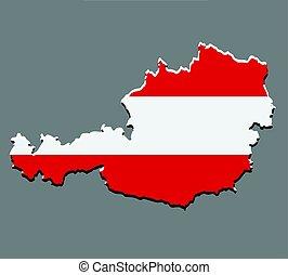 mapa, bandeira, vetorial, áustria, austríaco