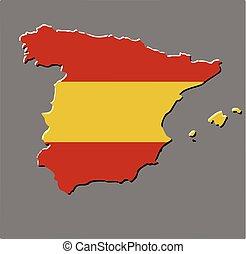 mapa, bandeira, vetorial, espanha, espanhol