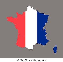 mapa, bandeira, vetorial, frança francesa