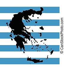 mapa, bandeira, vetorial, grécia, grego
