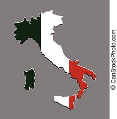 mapa, bandeira, vetorial, itália, italiano