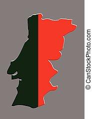 mapa, bandeira, vetorial, portugal, português
