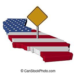 mapa, bandera, advertencia, california, señal