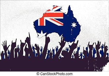 mapa, bandera, australijski, audiencja
