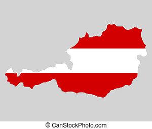 mapa, bandera, austria