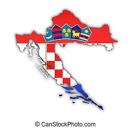 mapa, bandera, croacia