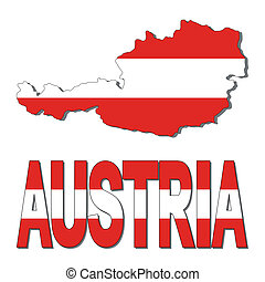 mapa, bandera de austria, texto