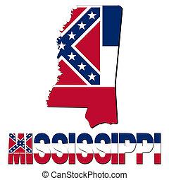 mapa, bandera de mississippi, ilustración, texto