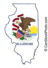 mapa, bandera del estado, illinois
