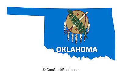 mapa, bandera del estado, oklahoma